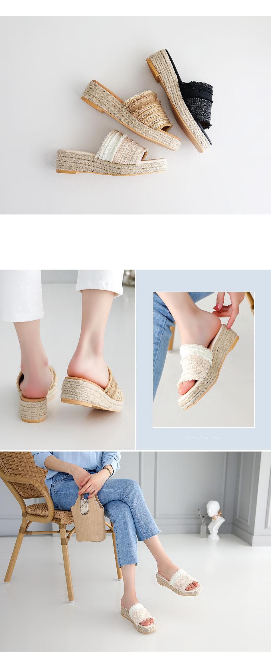 Raffia Espudee slippers 4.5cm
