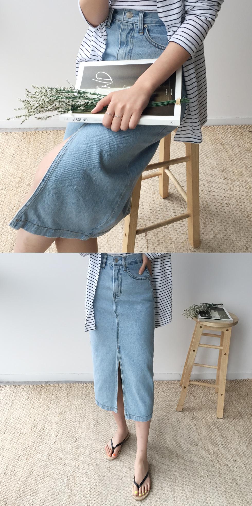 Spot denim skirt