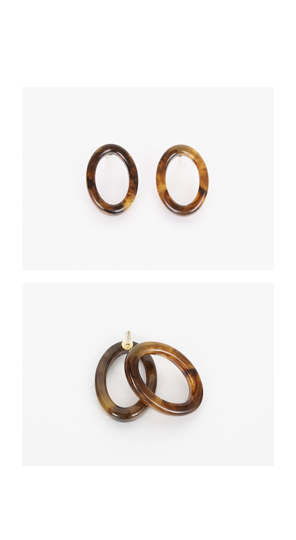 olive oval earring
