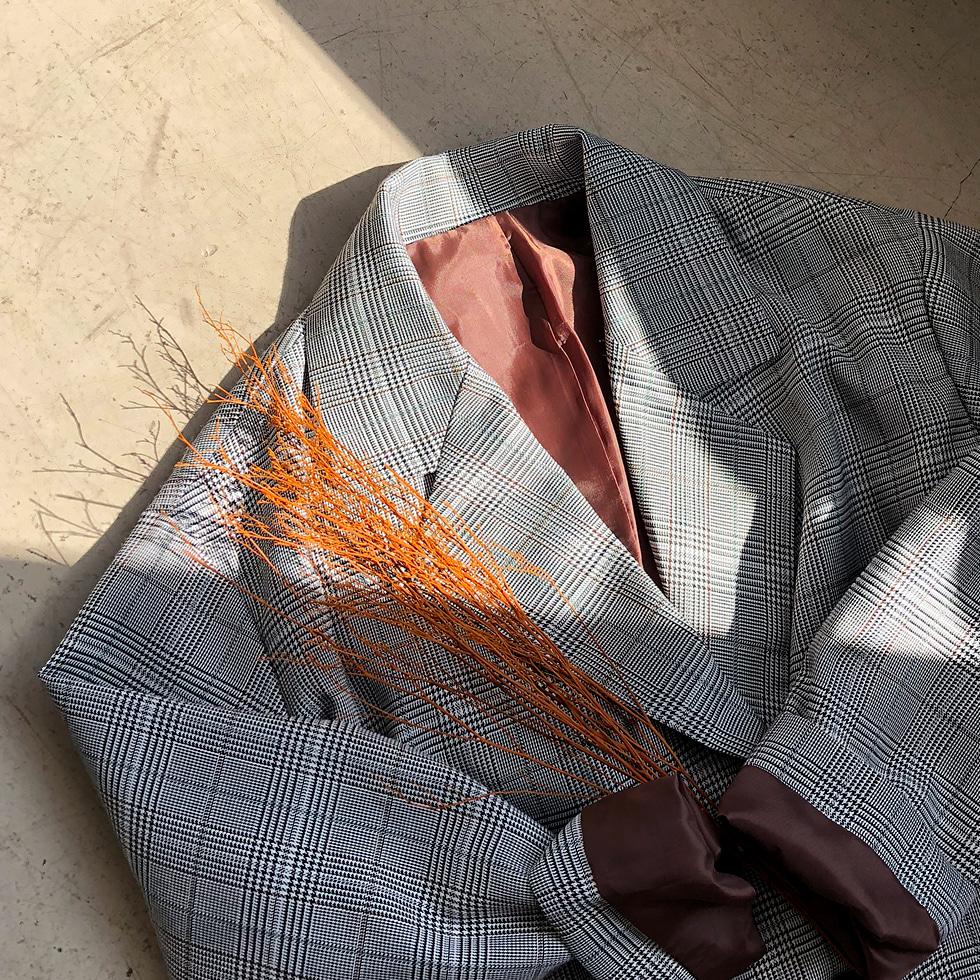 Jiro check long jacket