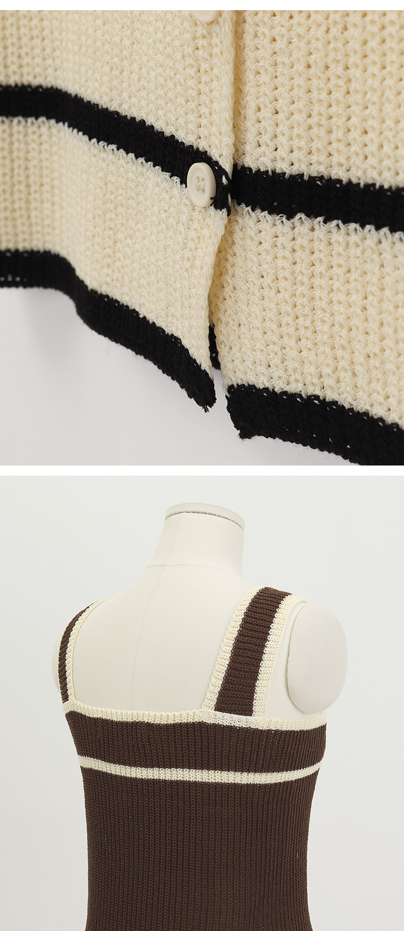 Plain button knit sleeveless_J
