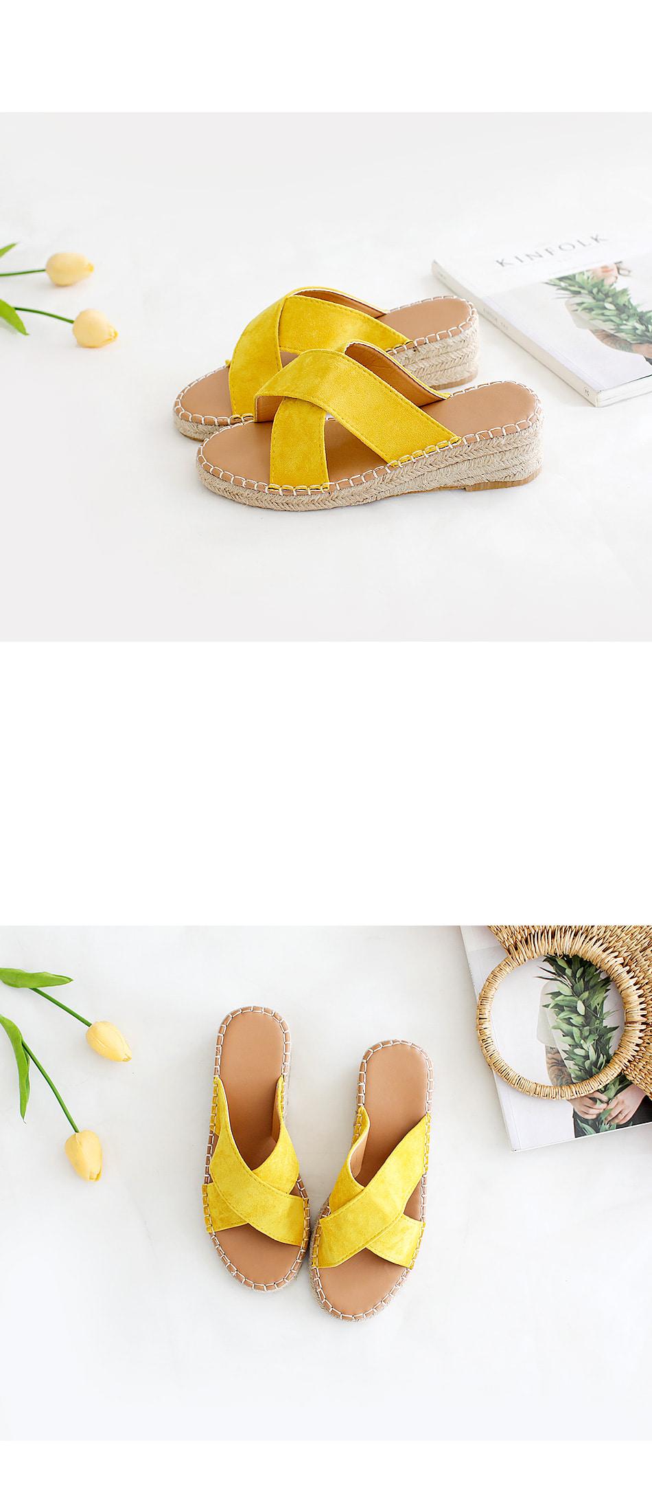 Renne Espaduu Wedge Mule Slippers 4.5cm