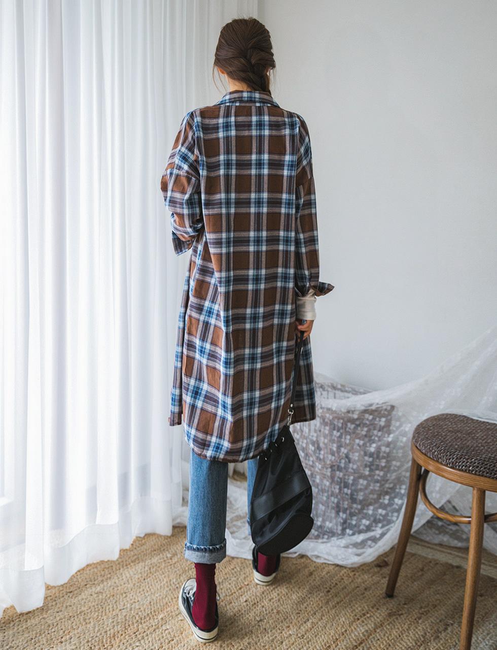 Maternity check long shirt