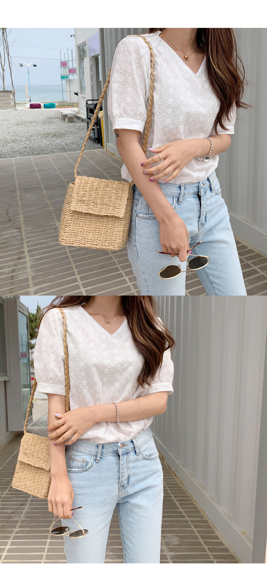 Romi punching lace blouse
