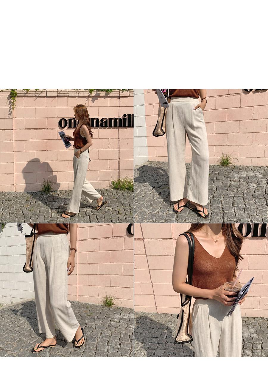 Supenner Linen Wide Bending Pants