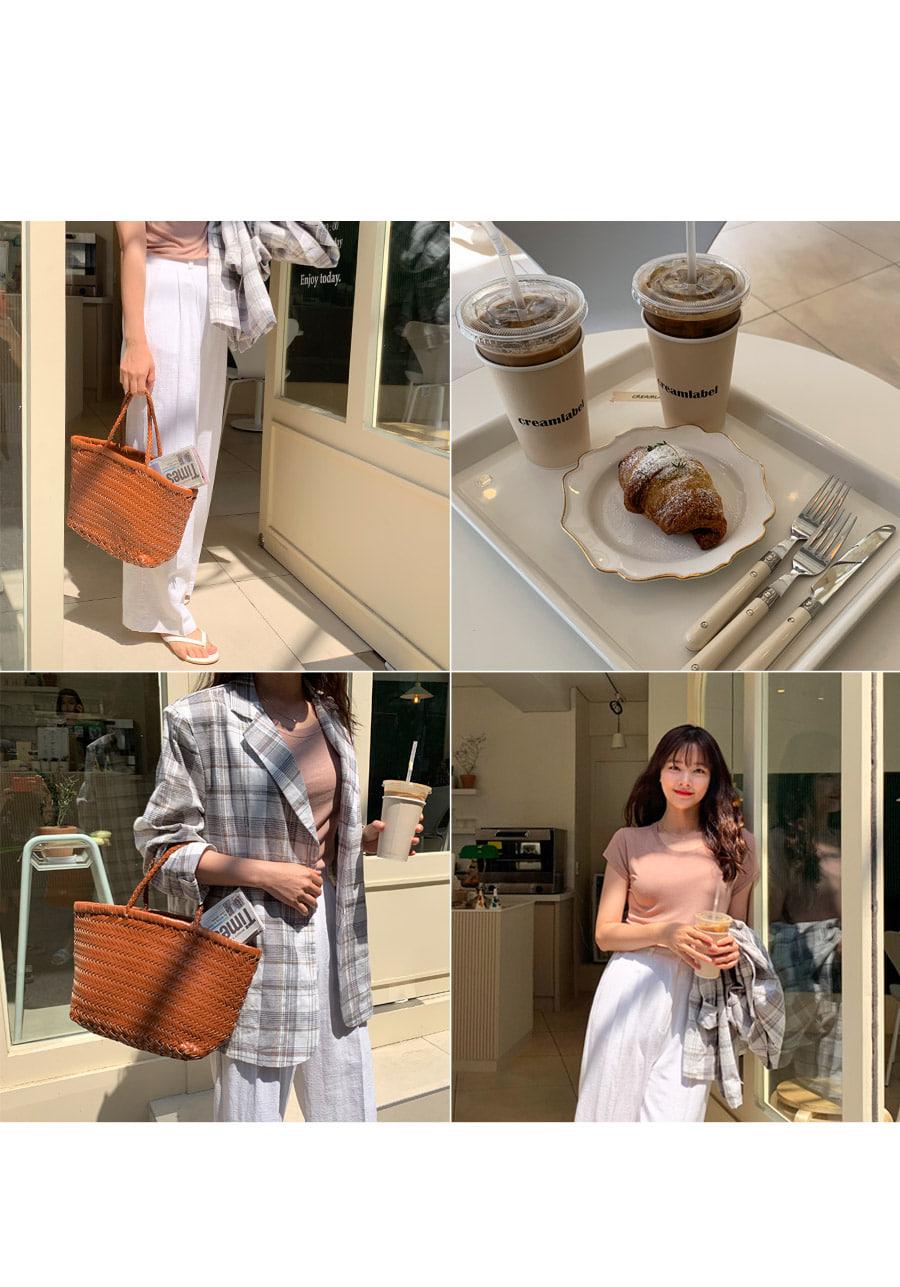 Akari Linen Over Buffet Check Jacket