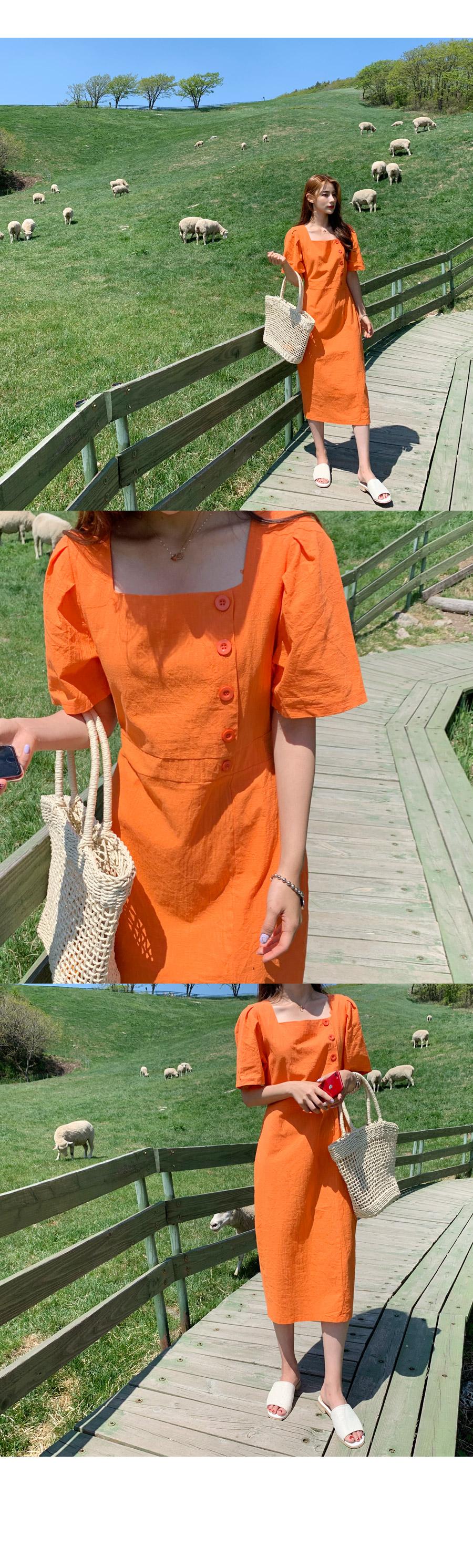 Linen Orange Puff Long Dress