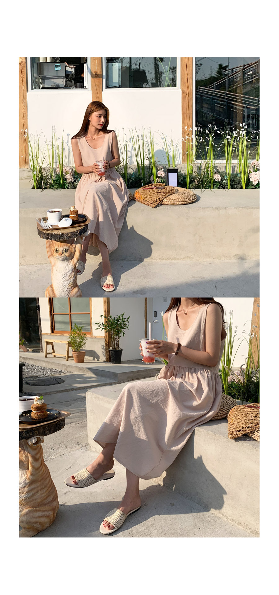 Modern linen navy long dress