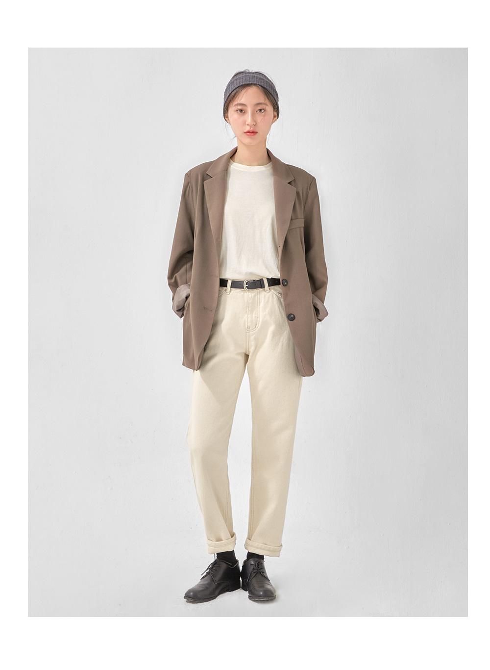 alight cream straight pants (s, m)