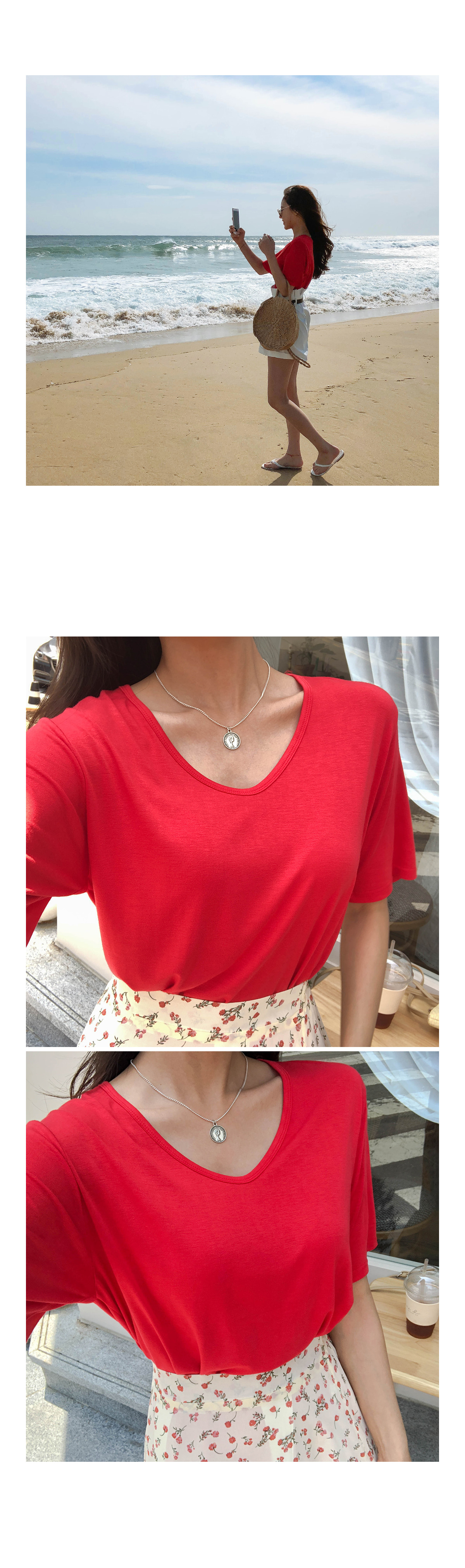 TENCEL SIMPLE T-SHIRTS ㅣ 5COLOR Eye Beige Ribbon Crop A-line visitor