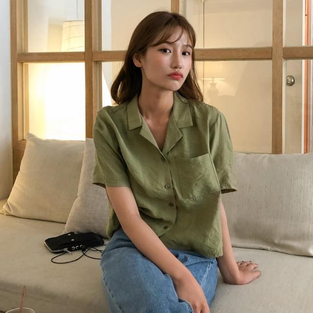 Open collar crop blouse