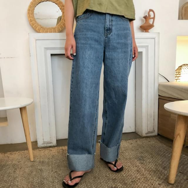 High West Roll-Up Wide Jeans