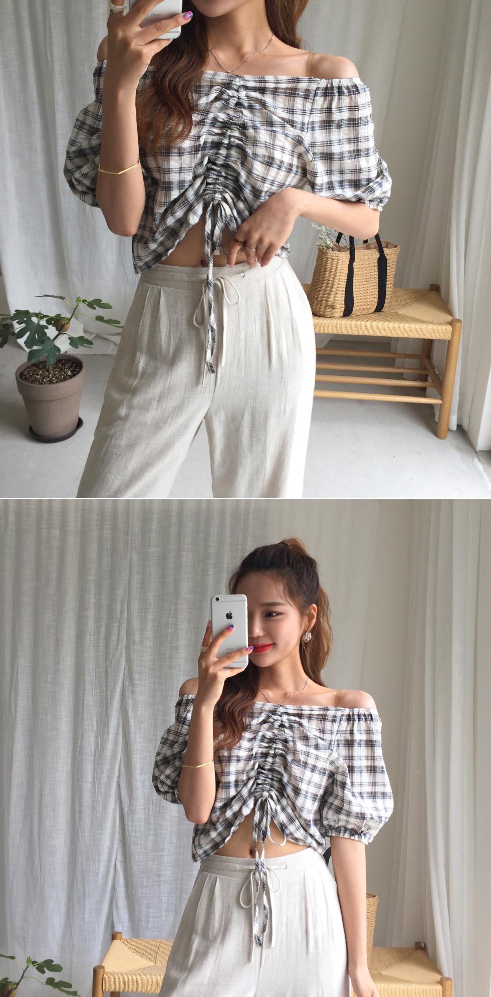 Roping check blouse