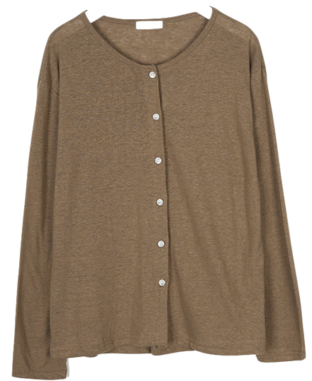 linen basic cardigan set