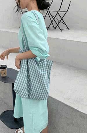 Pastel check Big eco bag