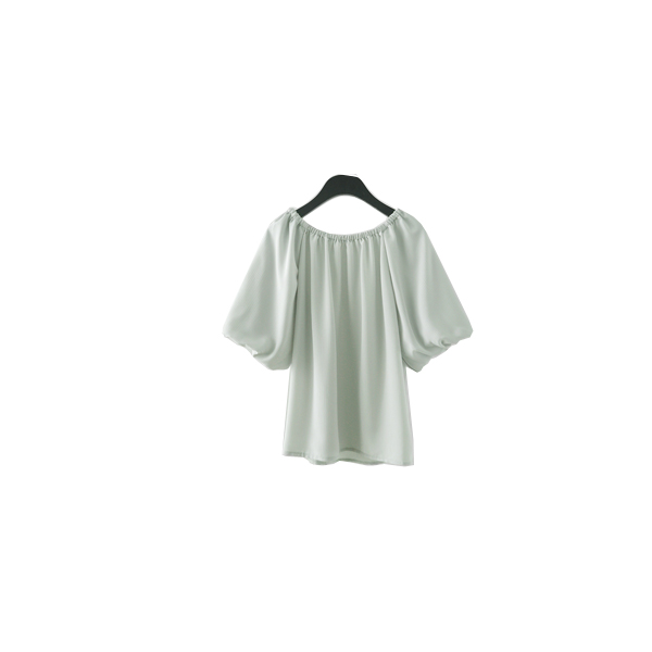 soft color puff blouse