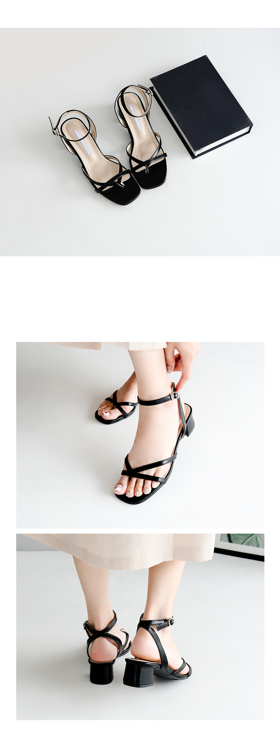 Belly strap sandals 4cm