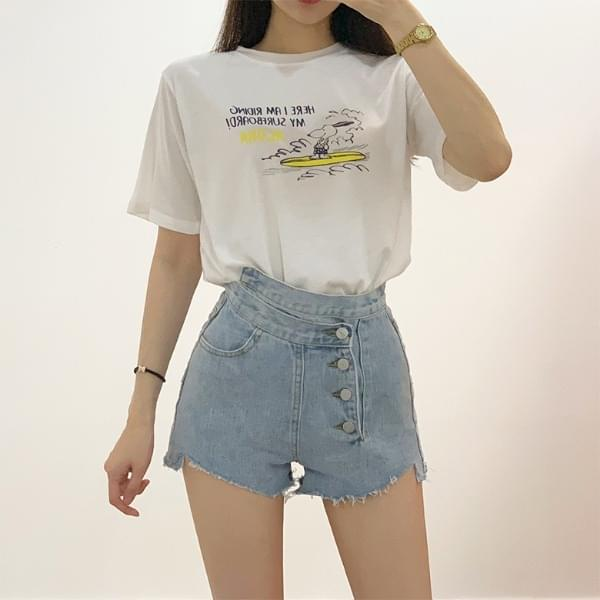 Surf Snoopy round short sleeves