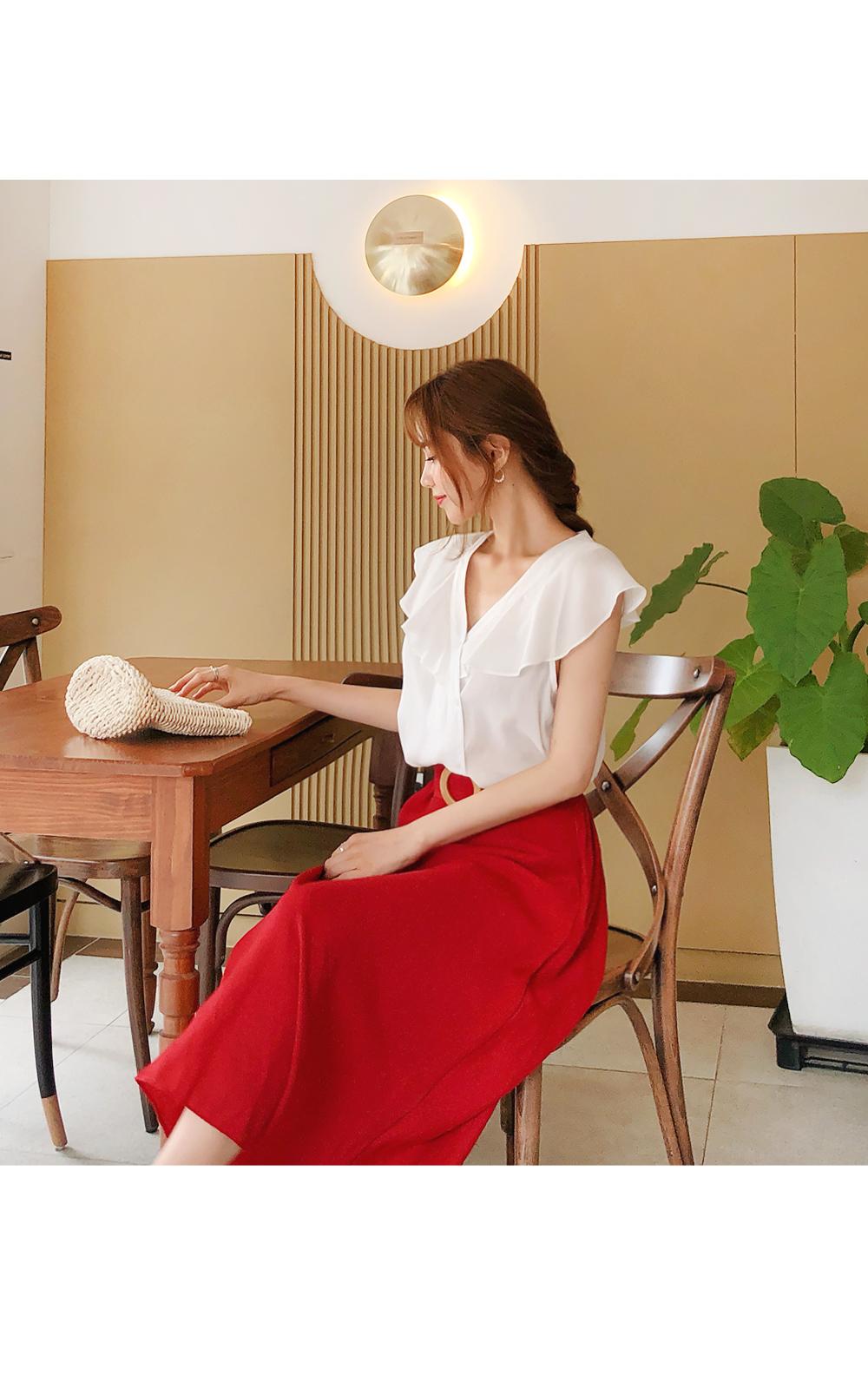 Elegant mood A-line skirt + belt SET