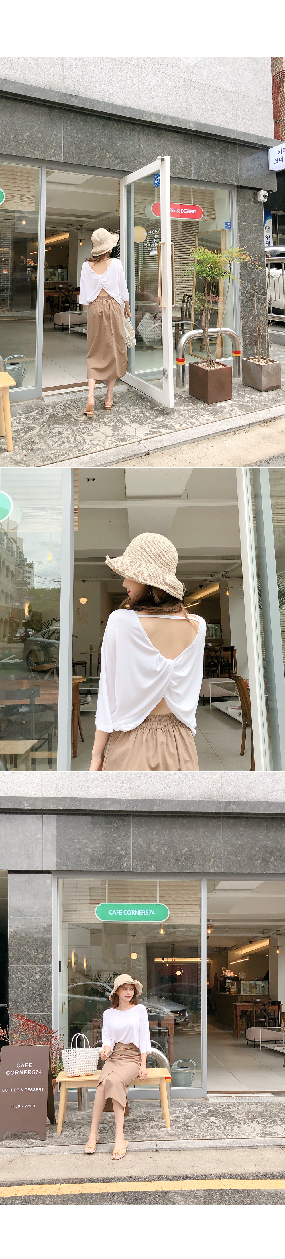 Reversible charm in the back twist T-shirt