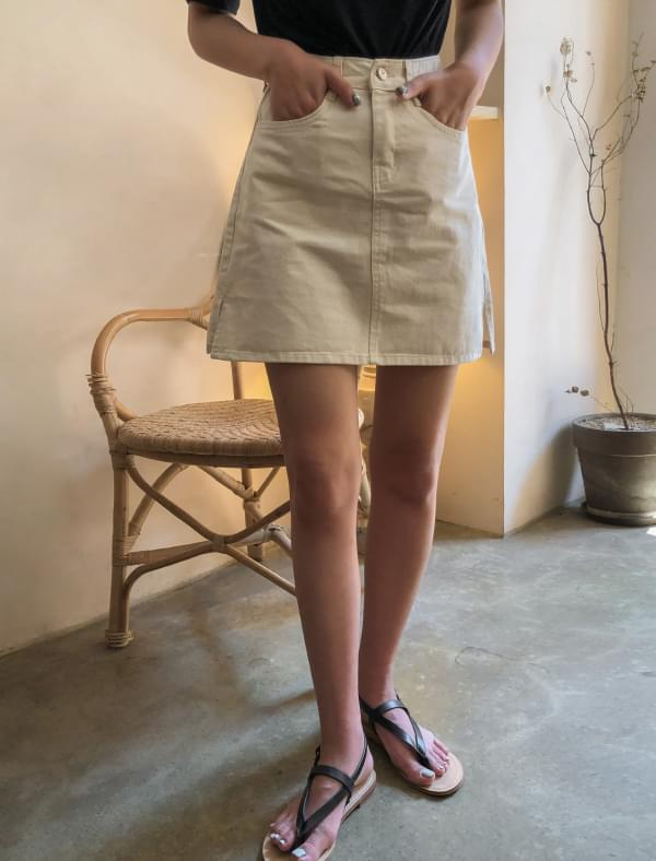 a-line basic cotton mini skirt
