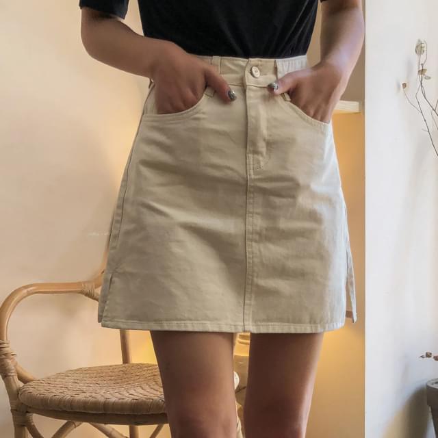 A-line cotton mini skirt-sk