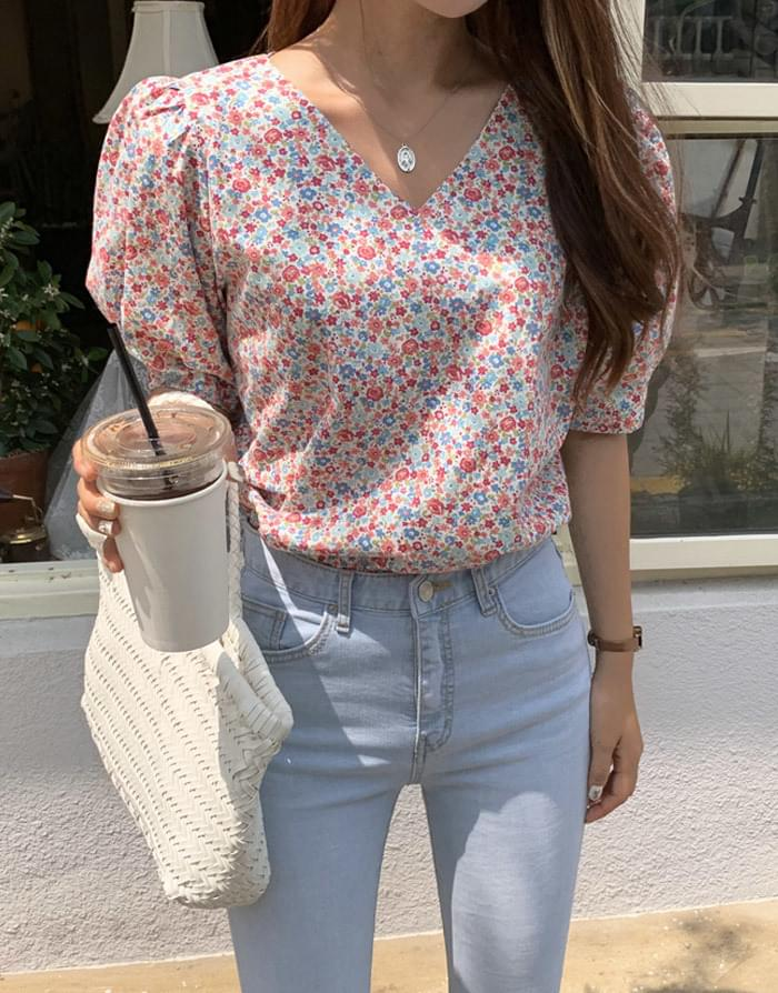 Pinky Rose Flower Blouse