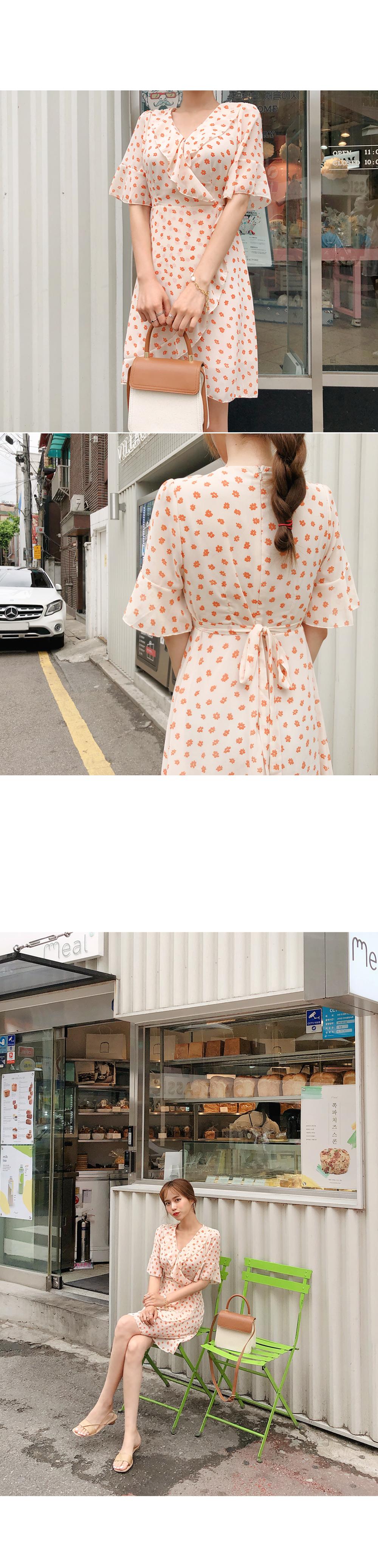 Flower frilly wrap dress