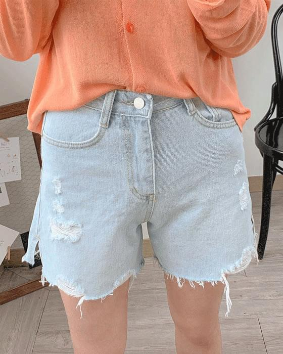 Damage trim short denim pants