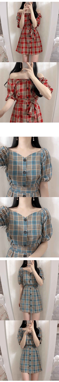 Belt set Dana check shoulder dress