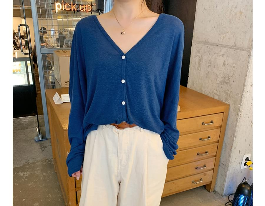 Use linen button cardigan_A (size : free)