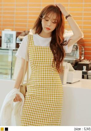 ELLA GINGHAM CHECK BUSTIER LONG OPS