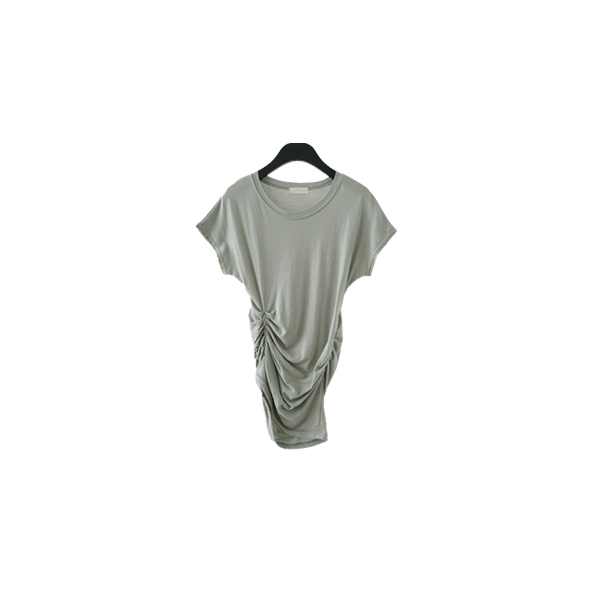 fitted shirring unblance tee