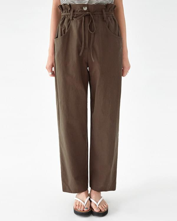 camel linen wide pants
