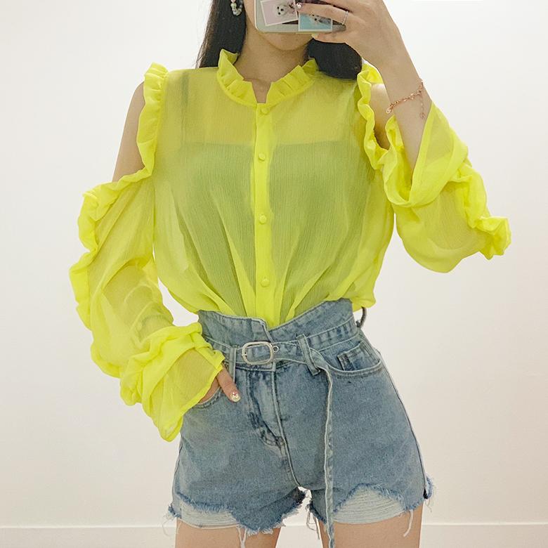 Cindy shoulder trim ruffle blouse