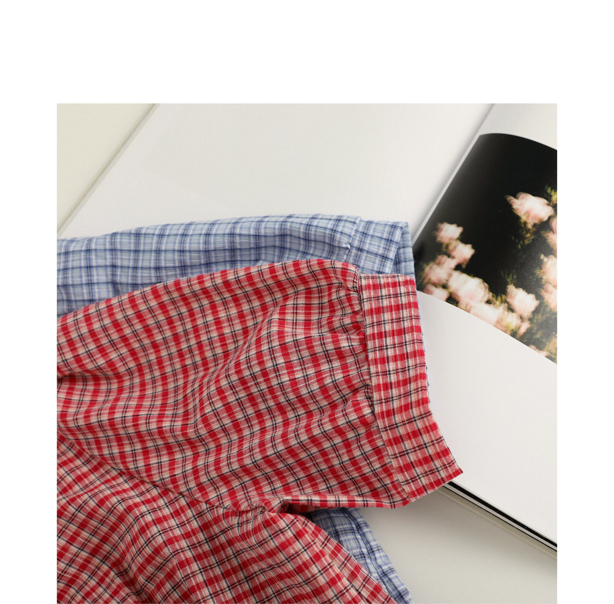 Tin check ribbon blouse