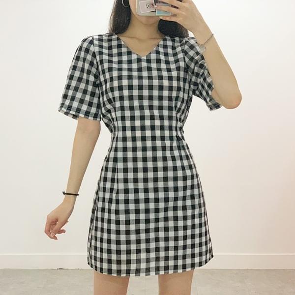 Go check V-neck mini dress