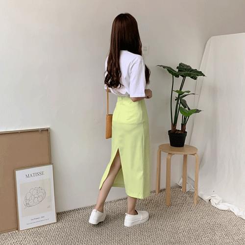 韓國空運 - 修身視覺車線後開衩襬長裙 裙子