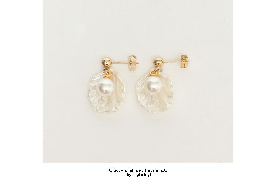 Classy shell pearl earring_C
