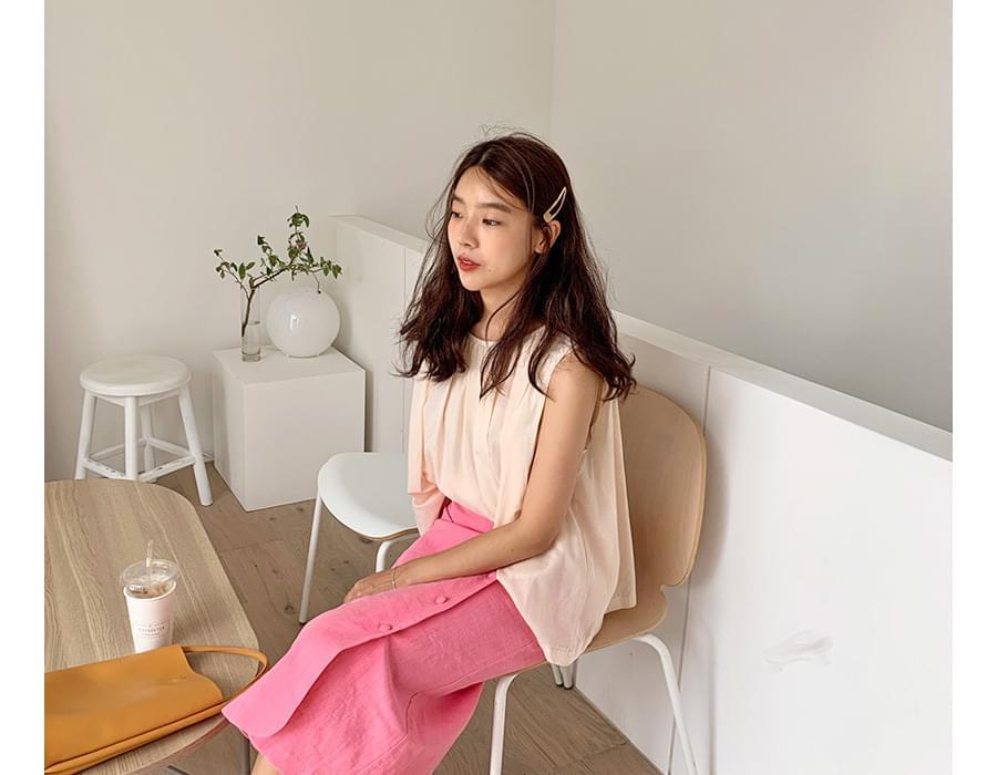 Shirring sleeveless blouse_K