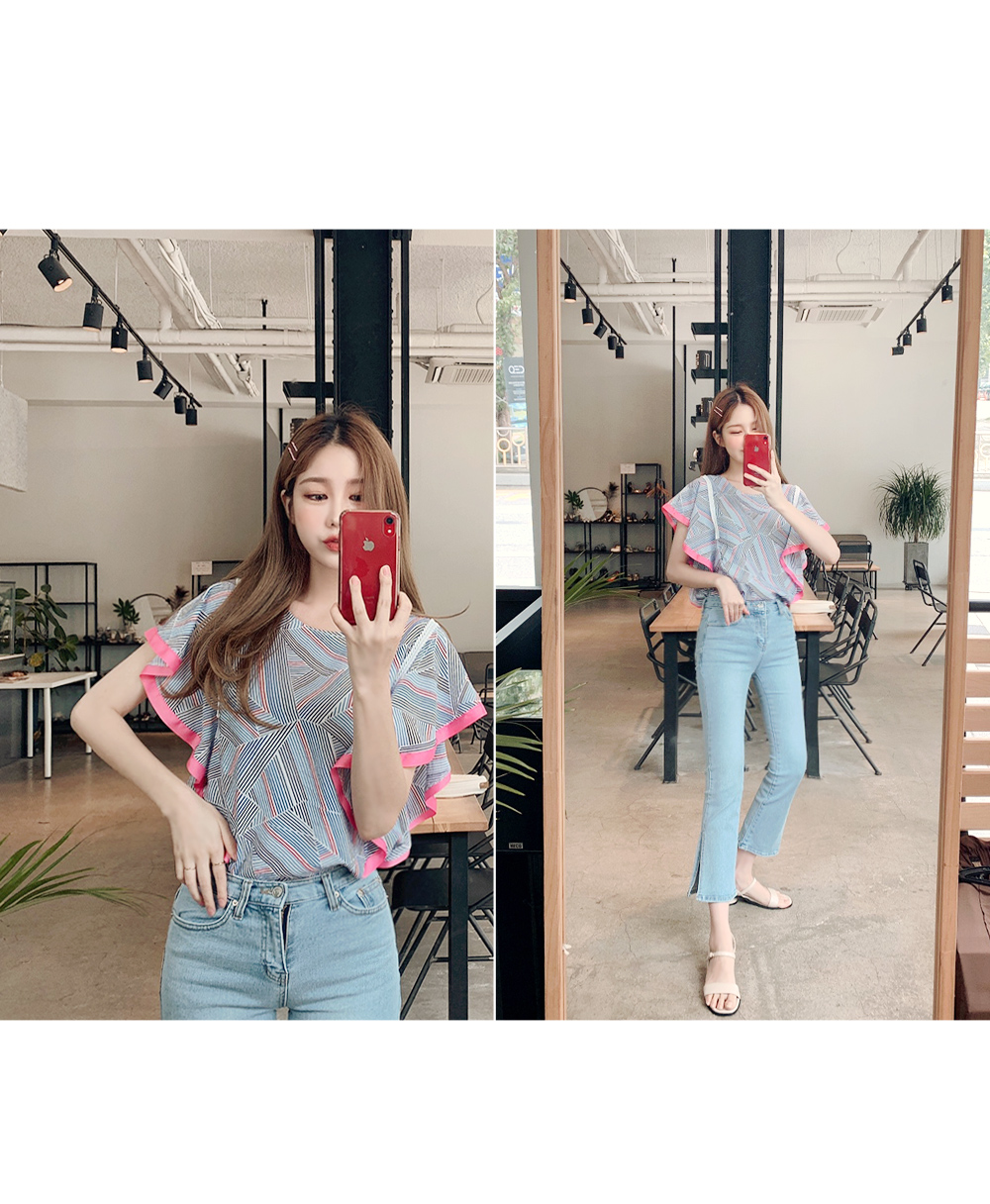 Colorful wing blouse