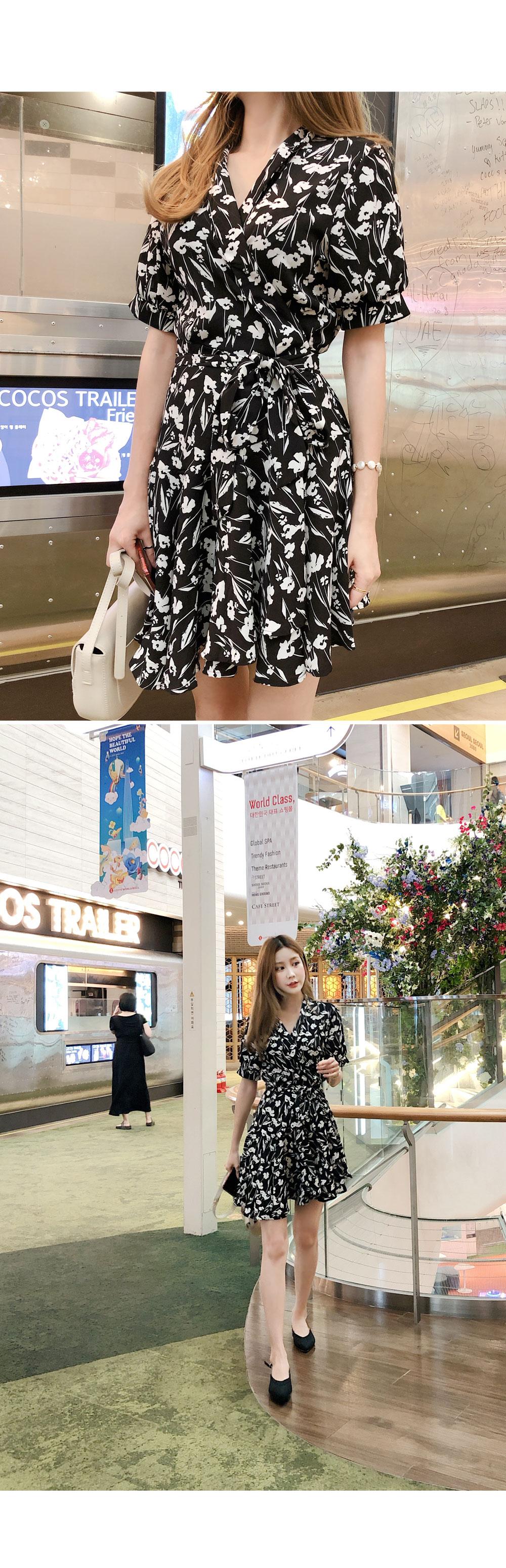 Flower mini wrap dress