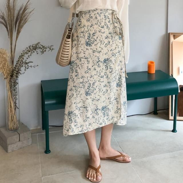 flower wrap long skirt