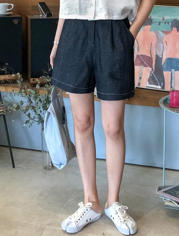 stitch point linen shorts