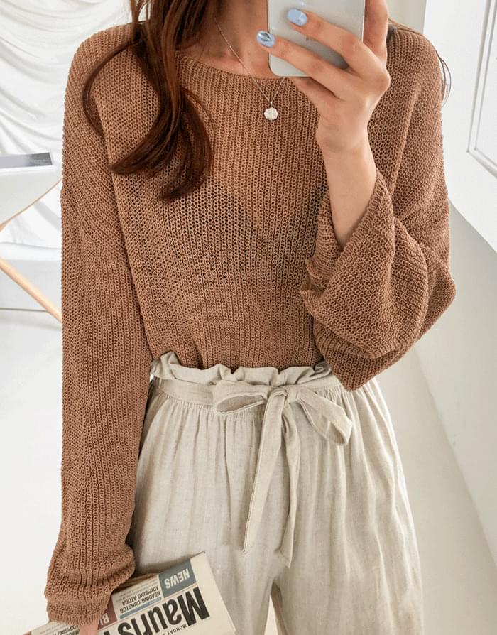 Boat neck loose knit
