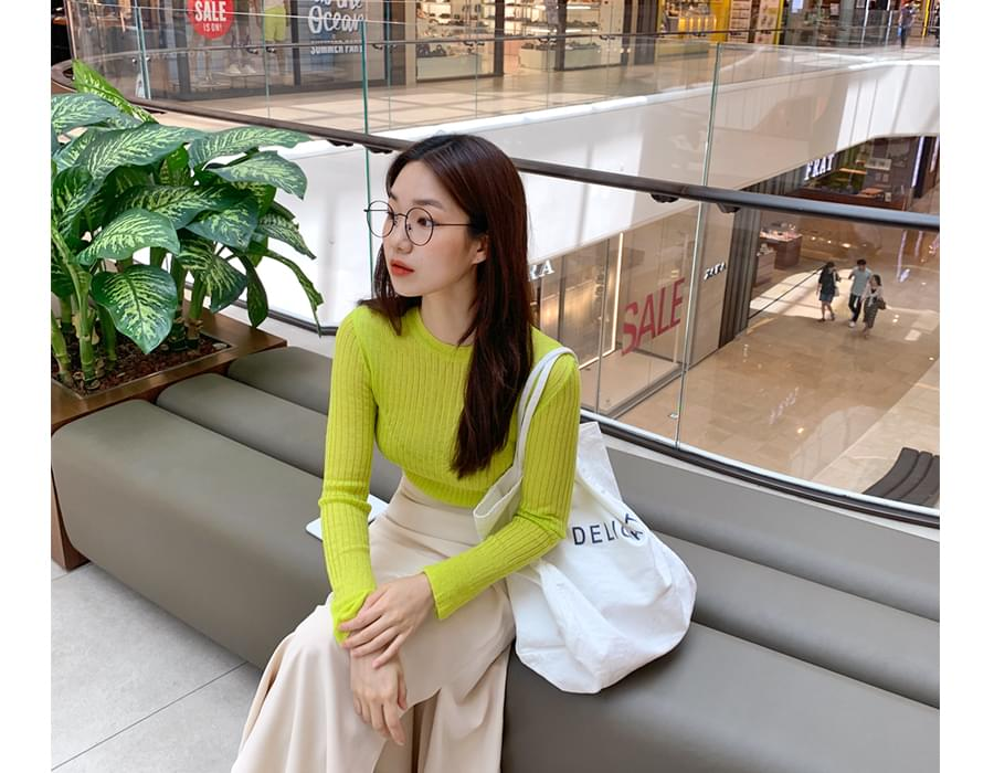 Retail slit linen knit_J (size : free)