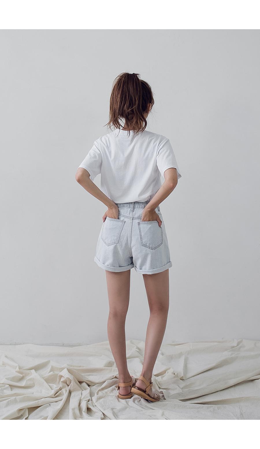 무지 워싱 반팔 티셔츠