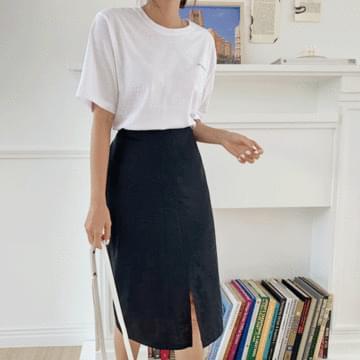 Simple front linen skirt