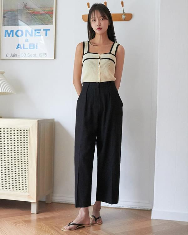 pin basic linen slacks