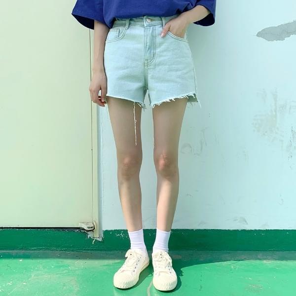 Shearing cut denim shorts P